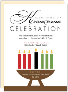 Coloful Candles Kwanzaa Invitation