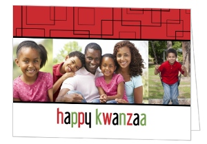 Black And Red Geometric Kwanzaa Card
