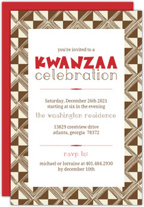 Brown Intricate Pattern Kwanzaa Invitation