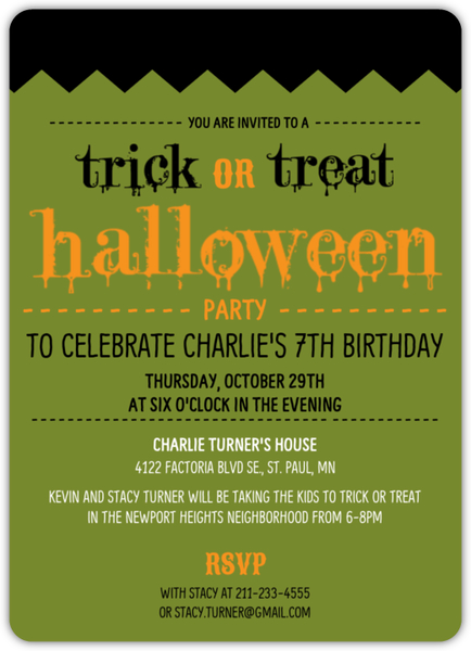 Frankstein Trick Or Treating Halloween Birthday Party Invitation