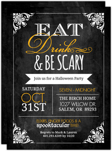 Chalkboard Vintage Frame  Halloween Party Invitation