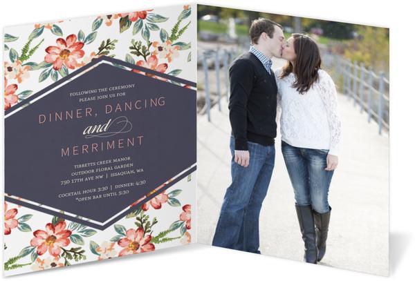 delicate watercolor floral bifold wedding invitation vintage