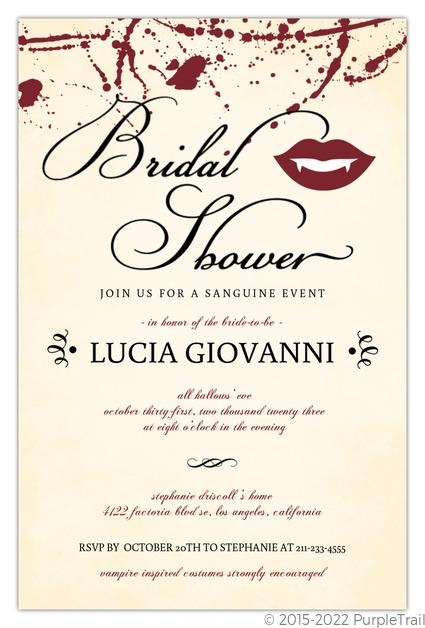 vampire bridal shower set halloween party invitation halloween