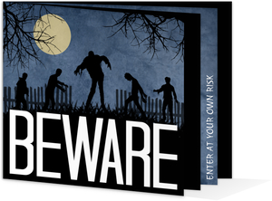 Blue Grunge Zombie Halloween Party Invitation