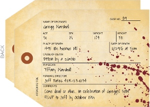 Coroner Toe Tag Halloween Party Invitation