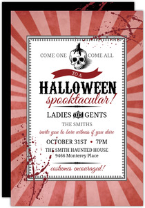 Red Steampunk Skull  Halloween Party Invitation