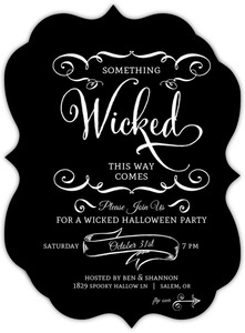 Black and White Wicked Halloween Party Invitation