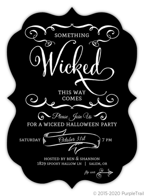 black and white wicked halloween party invitation halloween