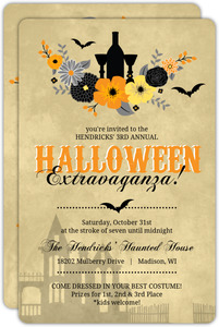 Rustic Floral Elixir  Halloween Party Invitation