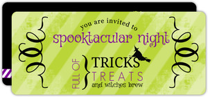 Green and Purple Striped Grunge Halloween Party Invitation