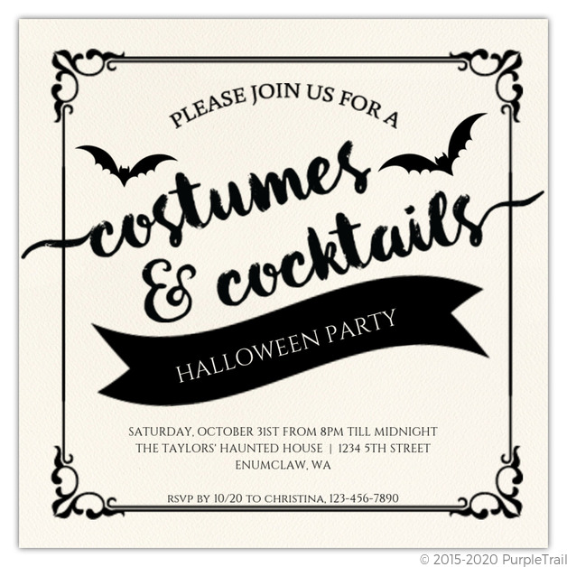 photo about Printable Halloween Party Invitations named Attractive Costumes and Cocktails Printable Halloween Occasion Invitation