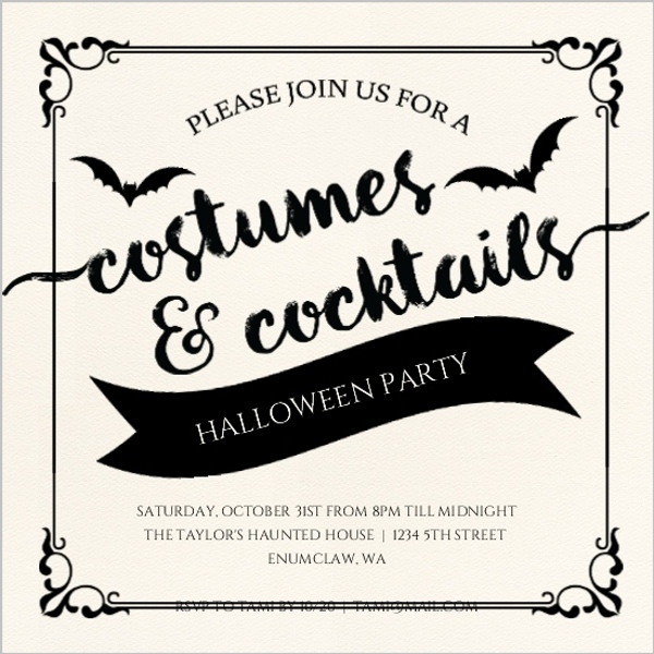 Ornamental Costumes and Cocktails Halloween Party Invitation