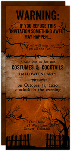 Warning Halloween Party Invitation