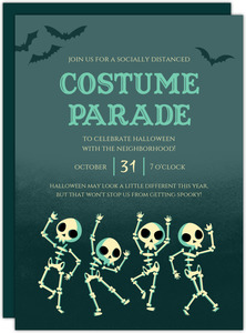 Dancing Skeleton Costume Parade Halloween Party Invitation