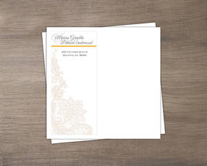 Yellow And Gray Floral Lace Envelope