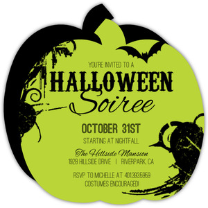 Green and Black Halloween Party Invite
