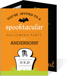 Green and Orange Tombstone Halloween Party Invite