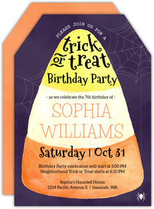 Watercolor Candy Corn Halloween Party Invitation