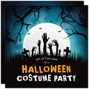 Night Cemetery Halloween Party Invitation