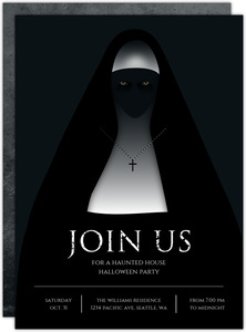 Scary Nun Halloween Party Invitation