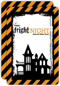 Orange and Black Striped Fright Night Halloween Card