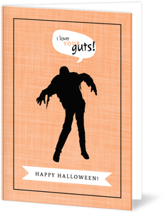 Orange Linen Zombie Halloween Card