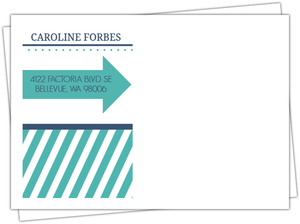 Modern Stripes Navy And Turquoise Envelope