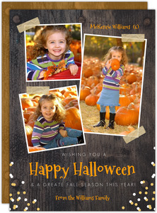 Rustic Woodgrain Photo Halloween Card