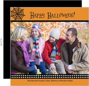 Orange Spider Web Photo Halloween Card