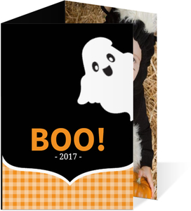 Black and Orange Ghost Halloween Card