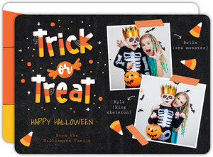 Trick or Treat Candy Corn Halloween Photo Card