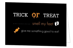 Black Trick or Treat Halloween Card
