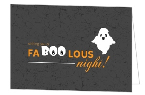 Black Halloween Night Ghosts Halloween Card