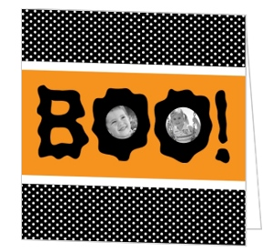 Orange and Black Photo Cut-Outs Halloween Card