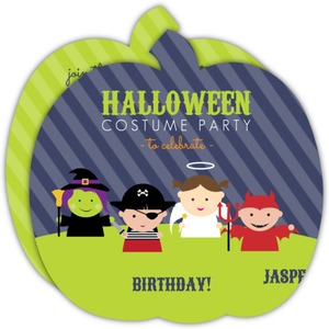 Navy and Green Whimsical Costumes Halloween Birthday Invitation