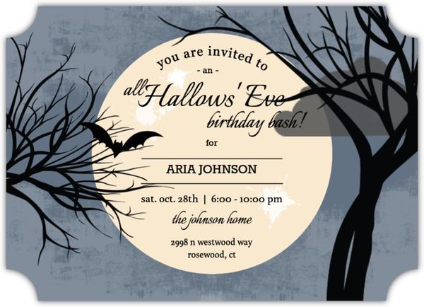 Full Moon Halloween Birthday Invitation