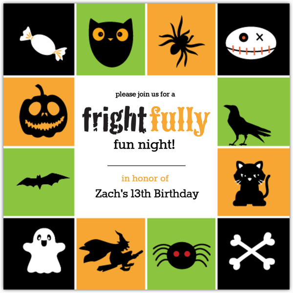 Cute Kids Halloween Birthday Party Invitation