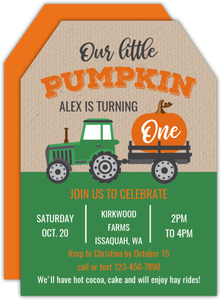 Pumpkin Tractor Ride Kids Birthday Invitation