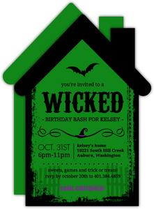 Green and Grunge Wicked Witch Halloween Birthday Invitation