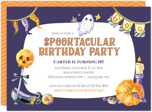 Ghostly Spooktacular Halloween Birthday Party Printable Invitation