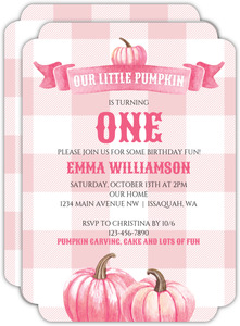 Pink Watercolor Pumpkins Kids Birthday Invitation