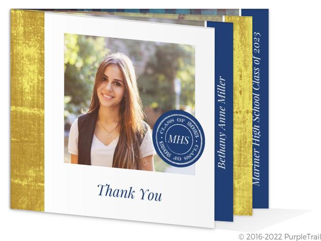 elegant faux foil monogram graduation thank you card graduation