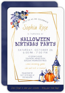 Beautiful Watercolor Halloween Birthday Party Invitation