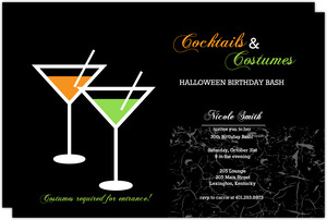 Cocktails and Costumes Halloween Birthday Invitaiton