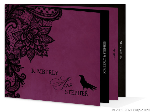 Black Lace and Ravens Booklet Halloween Wedding Invitation