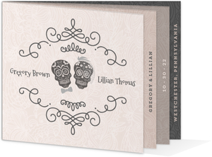 Elegant Skulls Halloween Wedding Invitation