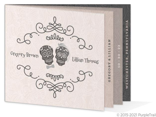 Elegant Skulls Halloween Wedding Invitation