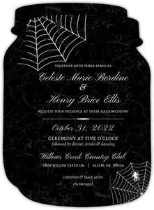 Elegant Spider Web Halloween Wedding Invitation