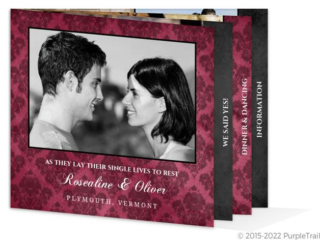 Vintage Purple Damask Halloween  Wedding Invitation Booklet
