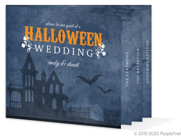 Rustic Blue Haunted House Halloween Wedding Invitation